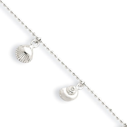 Scalloped Shell Charm (Black Bow Jewelry Sterling Silver 1.5mm Bead Chain & Sea Shell Charm Anklet, 9-10 Inch)