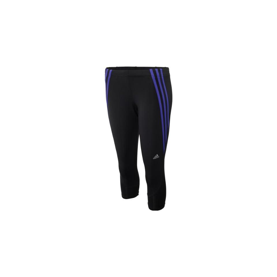 adidas Womens Questar 3/4 Running Tights   Size Large, Black/purple