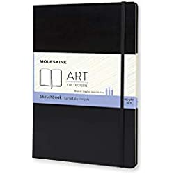 "Moleskine Art Plus Hard Cover Sketchbook, Plain, A4 (8.25"" x 11.75"") Black - Sketch Pad for Drawing, Watercolor Painting, Sketchbook for Teens, Artists, Students"