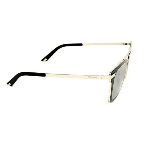 74e60bec56ef68 best Sunglasses Police HALO 1 SPL 348 579X Unisex Silver Square Silver  Mirrored