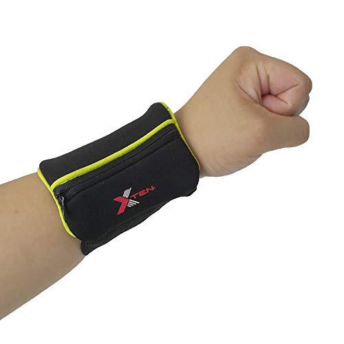 xten Wrist Band Wallet/Sweat Band (Fluorescent Green)