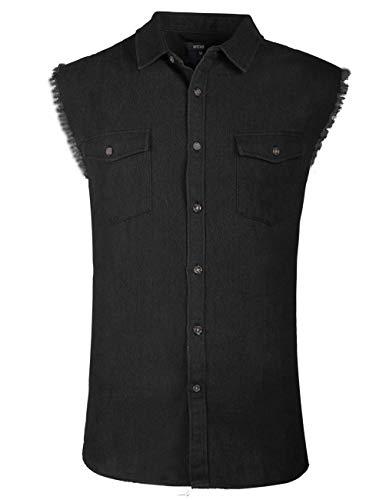 Men's Sleeveless Denim Shirt Biker Vest 2 Front Pockets Black ()