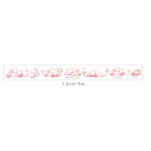 Nubes Rosas Doitsa 3pcs Rollo de Cinta de enmascarar Adhesiva de 5/m de Largo Decorativas Washi Tape de Papel Fournitures scolaires Estudiantes Masking Tape Recortes