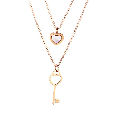 se Gold Heart&Key Pendant Necklace Stainless Steel Fashion Jewelry Double Layer Shell Necklace Gift for Women (Double Shell Pendant Necklace)