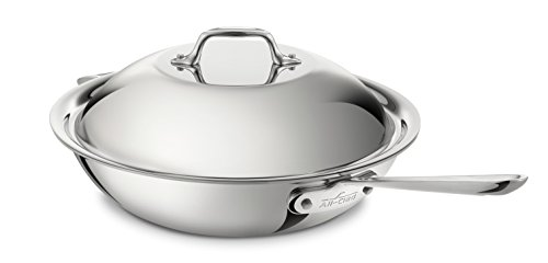 All-Clad 4412 Stainless Steel Tri-Ply Bonded Dishwasher Safe Chef's Pan with Domed Lid/Cookware, 4-quart, Silver ()