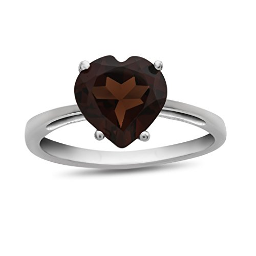 Finejewelers 10k White Gold 7mm Solitaire Heart Shaped Garnet Ring Size 5 ()