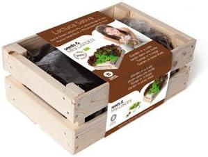 Kit de Cultivo Caja de madera - Lechuga Rizada: Amazon.es: Jardín