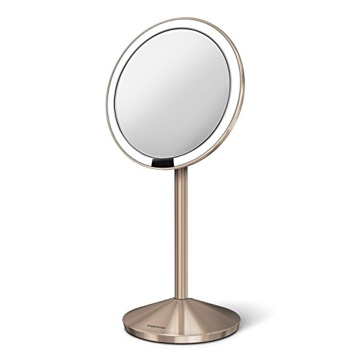 simplehuman 5 inch Sensor Mirror, Lighted Makeup Mirror, 10x Magnification, Stainless Steel (Rose Gold) by simplehuman