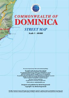 Commonwealth of Dominica, Caribbean, Road Map with Place Index, Hiking Trails and Diving Sites