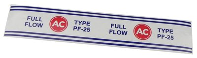 (F-6-8) 60-79 Chevrolet Chevy AC Delco PF-25 Engine Oil Filter Decal Sticker NOS R OEM