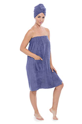 Women's Towel Wrap - Bamboo Viscose Spa Wrap Set by Texere (The Waterfall, Kashmir Blue, 2X/3X) Luxury Body Wrap Towel Sets for Her WB0103-KHB-2X3X ()