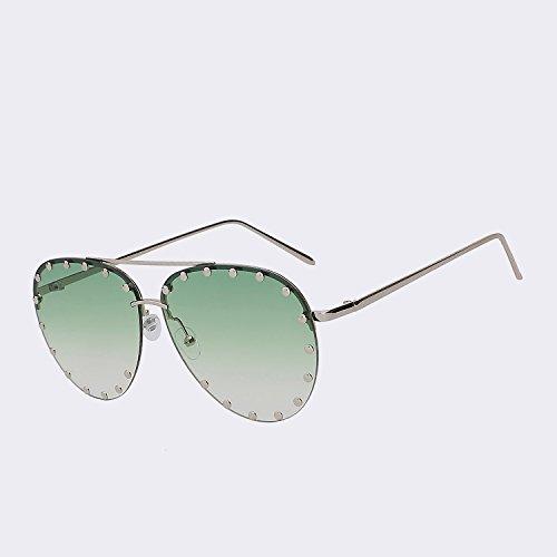 UV400 reborde marrón Oculos sol mujer Mujer superior gafas mar la calidad del El marca TIANLIANG04 para gafas de de sin de gafas Vintage de moda Silver green w sea cristalino W sol Diseñador de de oro de qApwxPxfnI