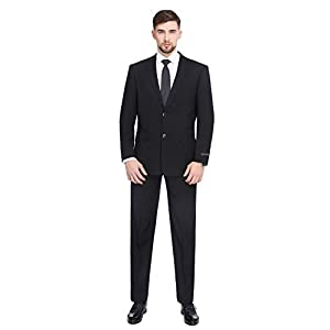 P&L Men's 2-Piece Classic Fit 2 Button Office Dress Suit Jacket Blazer & Pleated Pants Set
