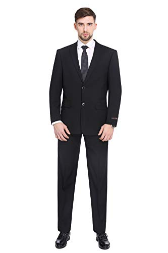 PL Men's Two-Piece Classic Fit Office 2 Button Suit Jacket & Pleated Pants Set,Black,56 Regular / Waist - Dress Suit Black