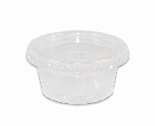 2 oz. Jello / Souffle / Portion Cups Disposable Plastic Shot Glass with Lids - Pack of 125ct