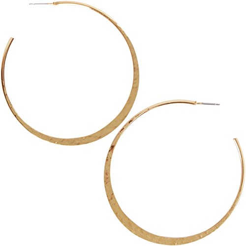 Humble Chic Big Hoop Earrings - Textured Open Round Statement Loops Plated in 18k Gold or 925 Sterling Silver with Hypoallergenic Stainless Steel Post