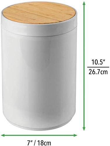 Bureau et Cuisine Couleur Gris et Bambou Poubelle Moderne en Bambou et Plastique pour Salle de Bain Generic Brands Cuisine Poubelle Pratique Corbeille /à Papier Robuste avec Couvercle