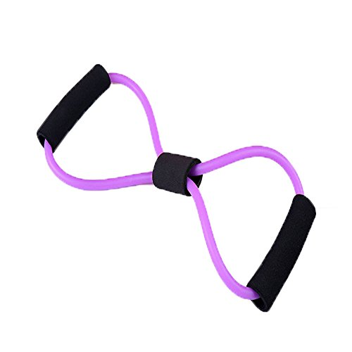 Vivoice 8 Shape Strength Training Resistance Band Sports Muscle Toner Resistance exercise bands Loop(purple) (Band Double Tube Resistance)