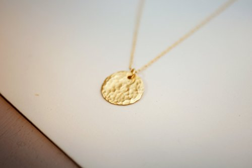 Gold Filled Layered Disc Necklace, Simple Delicate Everyday Minimalist Jewelry, Artisan Handmade - Necklaces Gold Delicate
