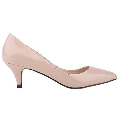 MERUMOTE Middle Heels, Pointed Toe Low Heel Dress Daily Work Shoes Pumps Nude