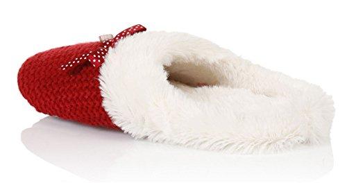 Loungeable, Damas Musgo puntada Cable Deslizante Pantuflas Rojo