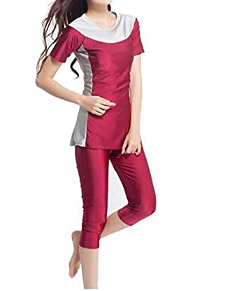 Womens' Color Block Moderate Cover Two Piece Swimsuit Burkini