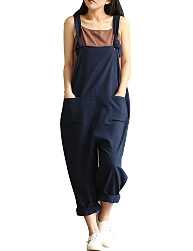 (Yeokou Women's Linen Wide Leg Jumpsuit Rompers Overalls Harem Pants Plus Size (Medium, Style12DarkBlue))