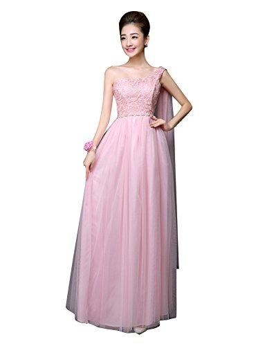 Beauty-Emily elástico largo Maxi Fiesta de Bodas de vestidos de dama Pink-B