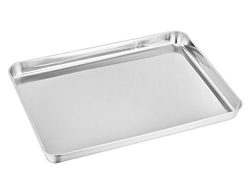 Stainless Steel 12' Fry Pan (TeamFar Stainless Steel Toaster Oven Tray Pan Ovenware Professional, 12'' x 10'' x 1'', Non Toxic & Healthy, Rust Free & Mirror Finish, Easy Clean & Dishwasher Safe)