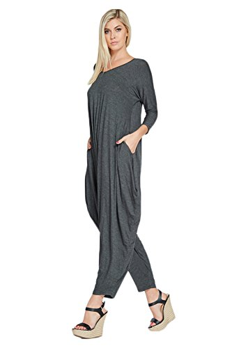 bd5bb529dab Annabelle Women s Long Sleeve Comfy Harem Jumpsuit Romper With ...