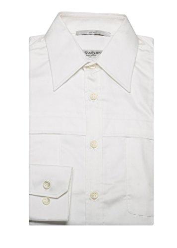 Yves Saint Laurent Men's Point Collar Cotton Dress Shirt - Clothes Laurent Saint Yves
