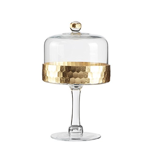 Fitz & Floyd 212705-11PD Daphne Gold Glass Pedestal Plate with Dome (Glass Dome Cupcake Stand)