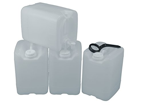API Kirk Containers 5 Gallon Samson Stackers, natural, 4-pack (20 gal) with One Spigot and Wrench