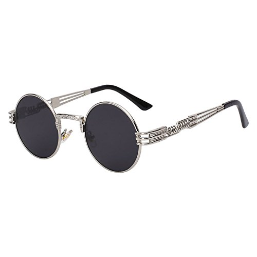 Airship Pilot Round Sunglasses - Men and Women - Silver with Black Lenses (Silver, Black) (Sunglass Shop-com)