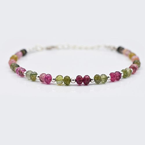 (Pink Green Tourmaline Beads Bracelet with Sterling Silver Findings October Birthstone Beaded Jewelry)