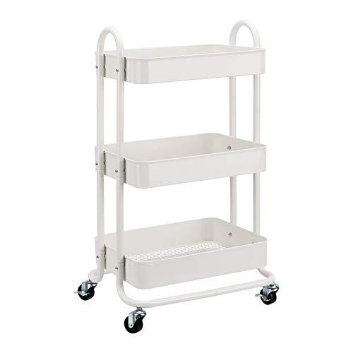 🥇 AmazonBasics – Carrito de cocina o multiuso de tres niveles con ruedas en blanco