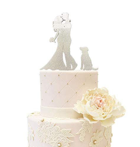 Wedding Anniverary Family Cake Topper Bride Groom with One Dog A Dog (Glitter Silver) ()