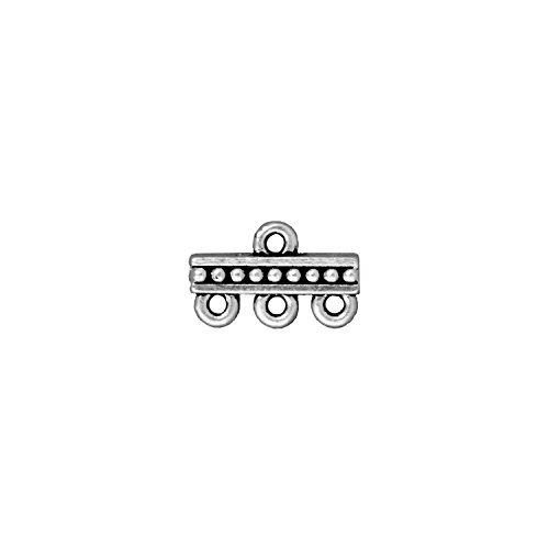 3 Strand Antique - TierraCast Link 3-1 Bar, 9x15mm, Antique Fine Silver Plated Pewter, 4-Pack