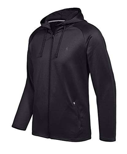 Little Donkey Andy Men's Full Zip Hoodie Jacket, Thermal Fleece Hooded Sweatshirt for Running, Workout or Lounge, Moisture-Wicking and Stretchy Black Size XXL