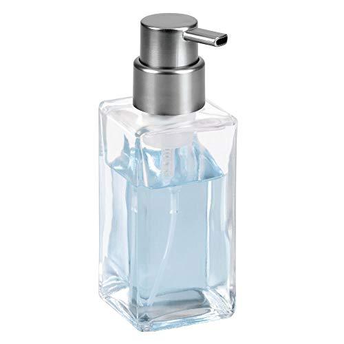 (mDesign Modern Square Glass Refillable Foaming Hand Soap Dispenser Pump Bottle for Bathroom Vanities or Kitchen Sink, Countertops - Clear/Brushed Black)