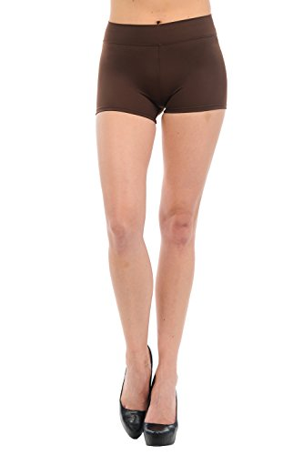 Anza Womens Active Wear Dance Booty Shorts-Brown,Large