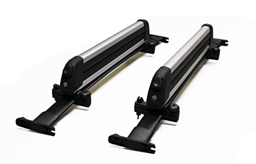 BRIGHTLINES Crossbars & Ski Rack for 6 Skis 4 Snowboards Combo Compatible with 2011-2015 Ford Explorer