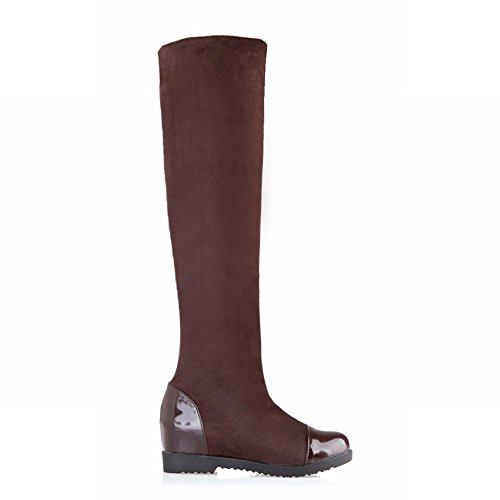 Donna Flat Hidden Fascino Boots Carol Long Heel Brown Slim Concise Shoes Da xwAqWOtaS