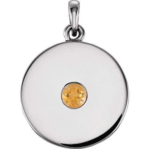 Bonyak Jewelry Sterling Silver Citrine Disc Pendant