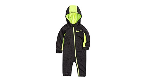 NIKE Infant All Day Play Fleece Coveralls (6-9 Months, Black Heather (56C732-K08)/Volt/Black Heather)