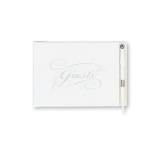 C.R. Gibson White and Silver Wedding Guest Book for 500 Guests, Pen Included 9.75'' W x 7'' H