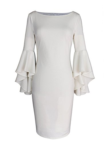06cce578 VfEmage Womens Elegant Bell Sleeve Wear to Work Party Cocktail Sheath Dress  9231 WHT S