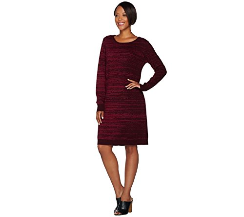 H by Halston Halston Double Knit Engineered Jacquard Sweater Dress Bordeaux S New A281394