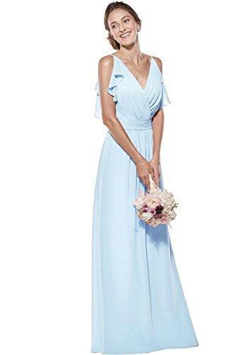 - Zhongde Women's Double V Neck Spaghetti Straps Chiffon Bridesmaid Dresses Long Formal Dress Maxi Baby Blue Size 16
