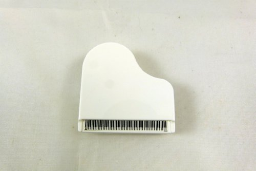 (Music Themed Piano Shape Memo Clip with Pen Holder and Magnet - White)